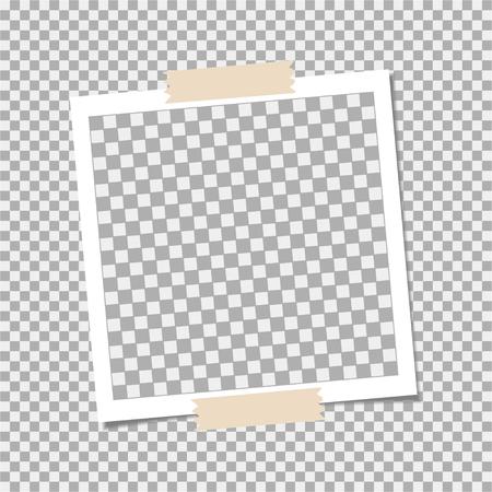 Marco de fotos con cinta adhesiva sobre fondo gris. Plantilla, en blanco para tu foto de moda Ilustración de vector
