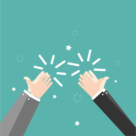 Human hands clapping. Applaud hands. Vector illustration in flat style on green background
