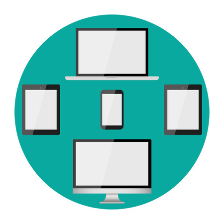 Realistic modern, blank screen lcd, led, TV, monitor, laptop, notebook, pad, phone on green background. Vector illustration