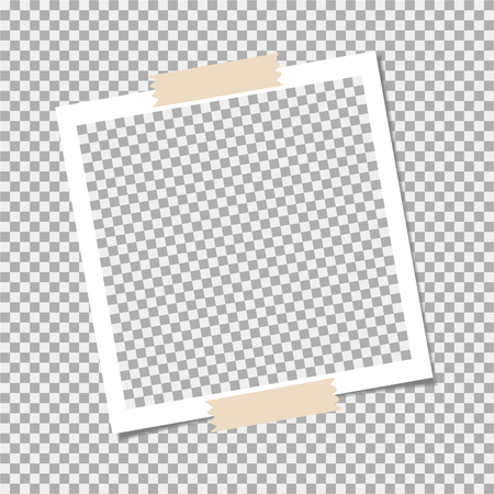 Photo frame with sticky tape on grey background. Template, blank for your trendy photo