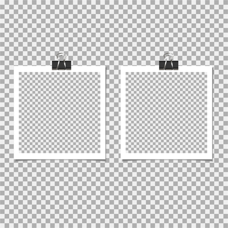 Photo frame with clip on grey background. Vector illustration