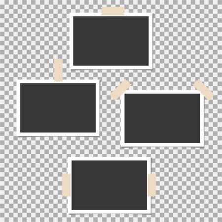 Fotorahmen mit Klebeband auf grauem Hintergrund. Vorlage, leer für Ihr trendiges Foto Vektorgrafik
