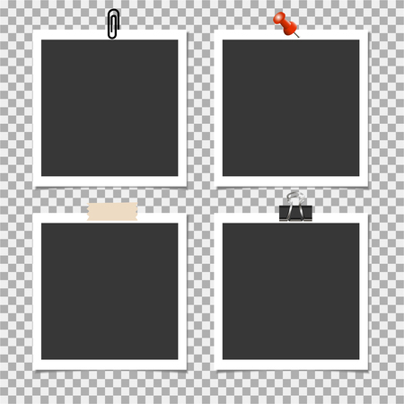 Photo frame with pin, clip and with sticky tape on grey background. Vector illustration