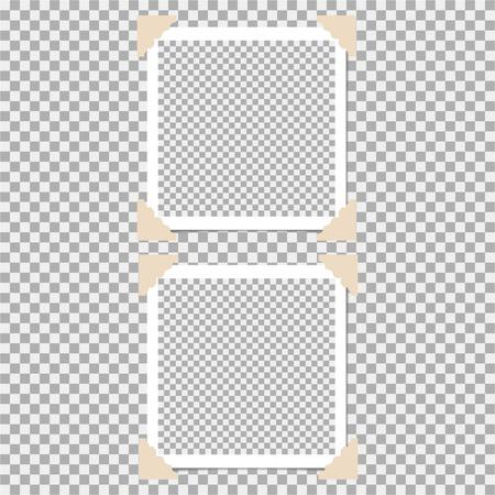 Conjunto de marco de fotos con ángulo, esquina sobre fondo gris. Plantilla, en blanco para tu foto moderna y elegante Ilustración de vector