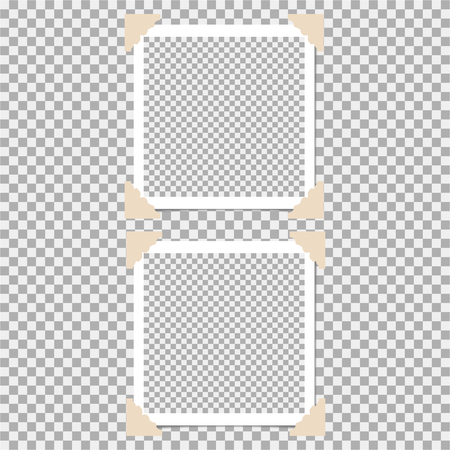 Set of photo frame with angle, corner on grey background. Template, blank for your trendy and stylish photo Vektorové ilustrace