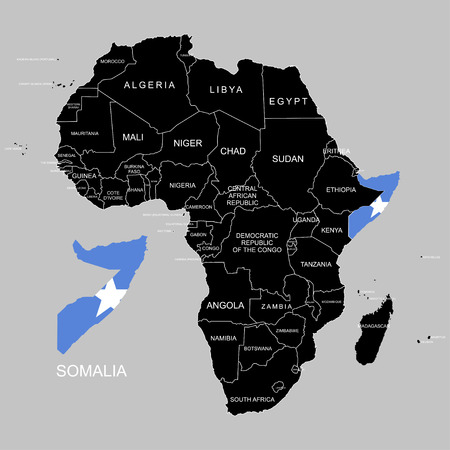 Territory of Somalia on Africa continent. Vector illustration