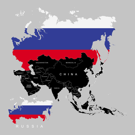 Territory of Russia on Asia continent. Flag of Russia. Vector illustration Illustration