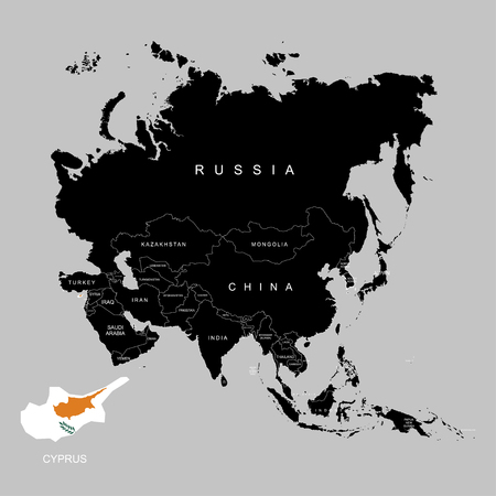 Territory of Cyprus on Asia continent. Flag of Cyprus. Vector illustration
