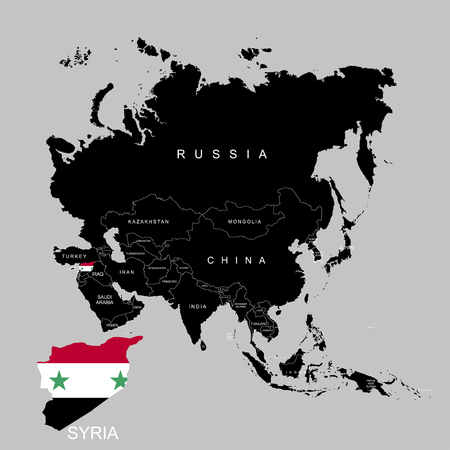 Territory of Syria on Asia continent. Flag of Syria. Vector illustration