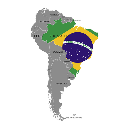 Territory of Brazil on South America continent. White background. Vector illustration