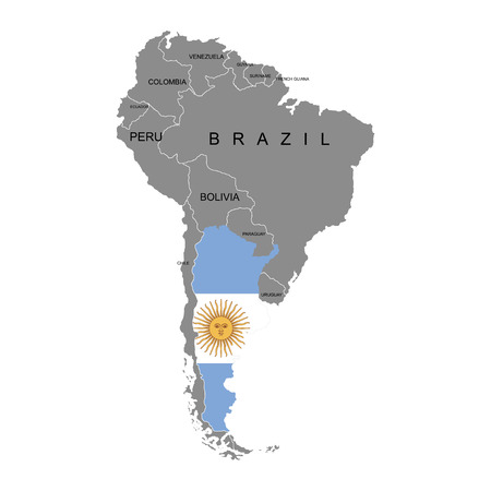 Territory of Argentina on South America continent. White background. Vector illustration Illustration