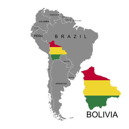 Territory of Bolivia on South America continent. White background. Vector illustration