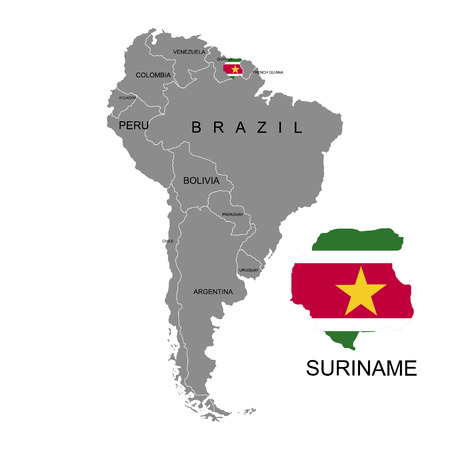 Territory Of Suriname On South America Continent White Background