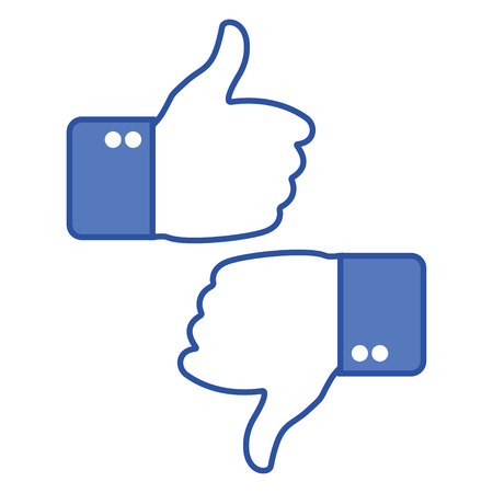 Thumbs up and thumb down. Like and dislike icons for social network. Hand gesture. Vector illustration