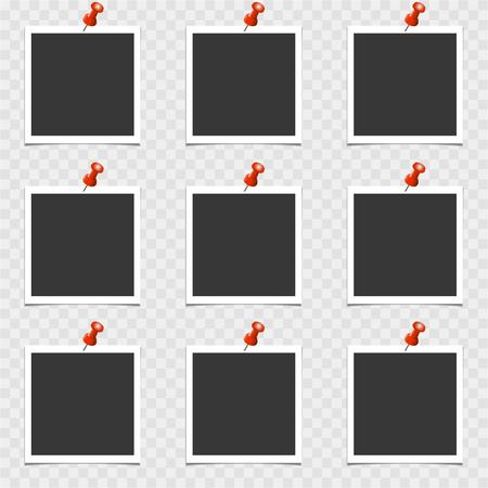 Conjunto de marco de fotos con pin sobre fondo gris. Plantilla de vector, en blanco Ilustración de vector
