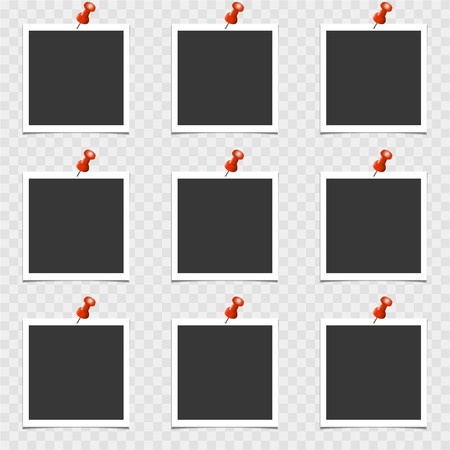 Set of photo frame with pin on gray background. Vector template, blank Vektorové ilustrace