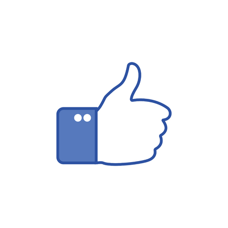 Blue button hand with thumb finger up. Like social icon. Hand gesture. Like gesture. Hand shows gesture of thumb up. Vector illustration Illustration