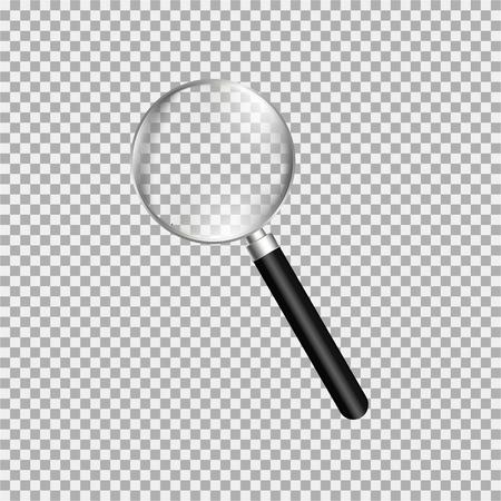 Magnifying glass, loupe with black handle. Gray background. Vector illustration Ilustração