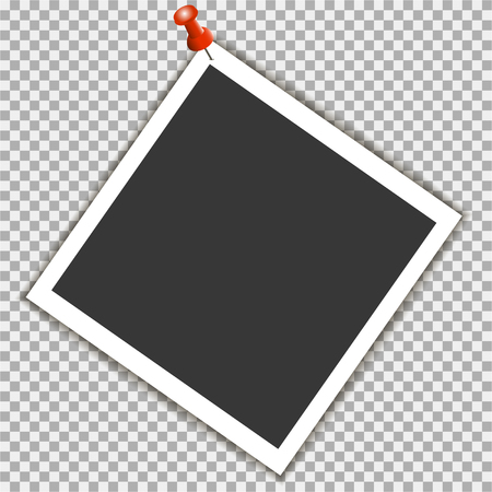 Photo frame with pin on grey background. Vector template, blank