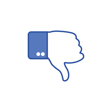 Blue button hand with thumb finger down. Social icon. Hand gesture. Dislike gesture. Hand shows gesture of thumb down. Vector illustration