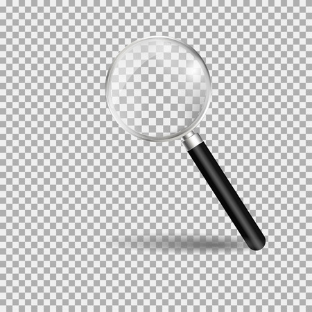 Magnifying glass, loupe with black handle. Gray background. Vector illustration Illusztráció