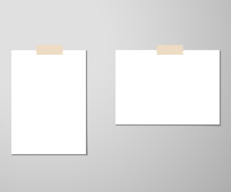 Clear list of paper with pin on the gray background. Vector illustration