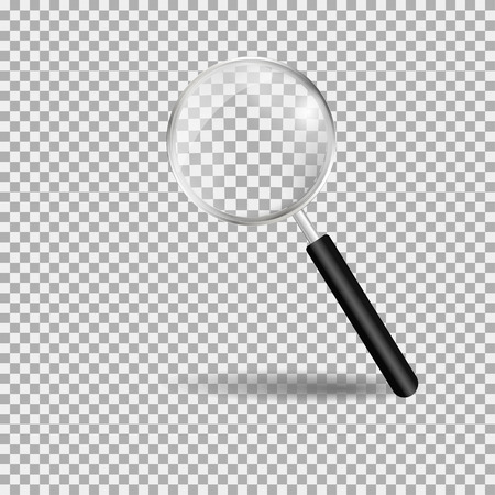 Magnifying glass, loupe with black handle. Gray background. Vector illustration Illustration