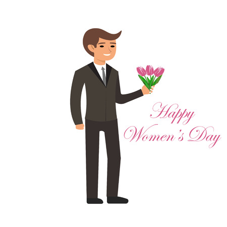 International Women's Day. 8 th March. Spring holiday. Pink tulips. Bunch of flowers. Holiday greetings. Greeting card. Vector illustration