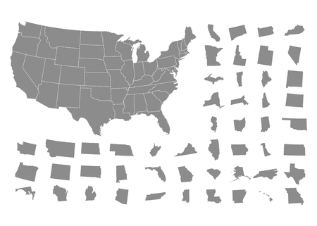 States of America territory on white background. Vector illustration  イラスト・ベクター素材