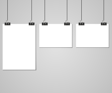 Collection of clear lists of paper with pin on the gray background. Vector illustration