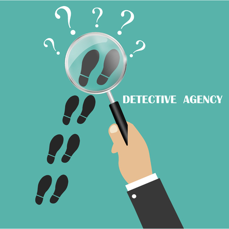Private detective. Follow somebody closely. Detective magnifying glass. Detective control. Follow in the tracks of somebody. Vector illustration