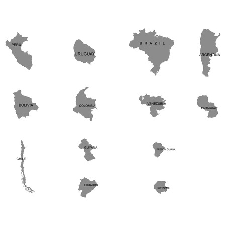 Territory of South America continent. Separate countries. List of countries in South America. White background. Vector illustration