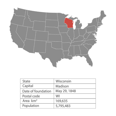 States of America territory on white background. Wisconsin. Separate state. Vector illustration 向量圖像