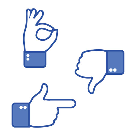 Hand gesturing. Thumbs up and thumbs down. Like and dislike icons for social network. Ok sign. Vector illustration Vector Illustratie