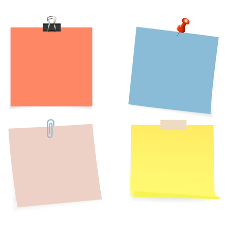 Collection of clear color lists of paper with pin and adhesive tape on the white background. Vector illustration