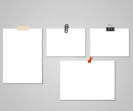 Clear list of paper with adhesive tape and pin on the gray background. Vector illustration