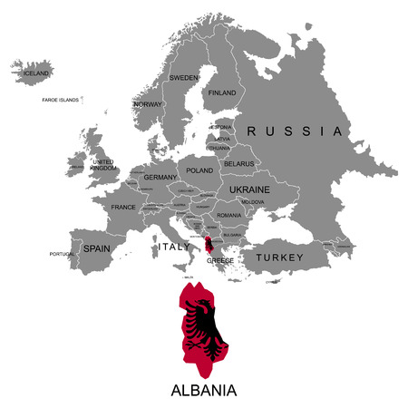 Territory of Europe continent. Albania. Separate countries with flags. List of countries in Europe. White background. Vector illustration