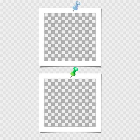 Marco de fotos con pin. Plantilla de vector para su foto o imagen de moda