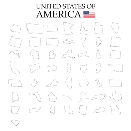 States of America territory on white background. Separate states. Vector illustration  イラスト・ベクター素材