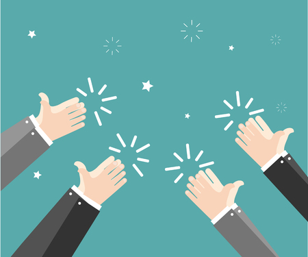 Human hands clapping. Applaud hands. Hand gestures. Vector illustration in flat style on green background