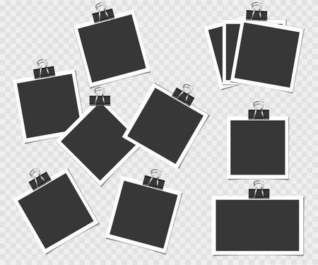 Collectie van fotolijstjes met pin. Vectorsjabloon voor uw trendy foto of afbeelding