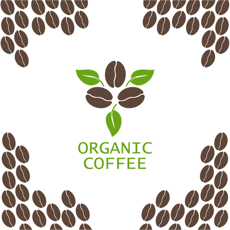 Coffee beans with leaf on white background. Organic. Vector illustration Vettoriali