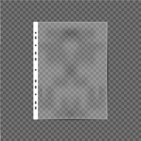 Realistic file, plastic bag, polythene on gray background. Vector illustration Illustration