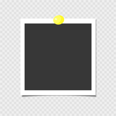 Photo frame with yellow pin. Vector template