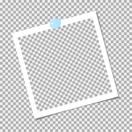 Photo frame with blue pin. Vector template Illustration