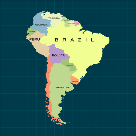 Territory of South America continent. Dark background. Vector illustration