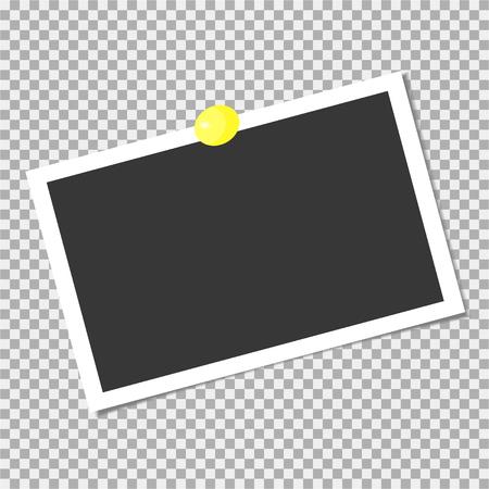 Marco de fotos con pin amarillo. Plantilla. Ilustración vectorial