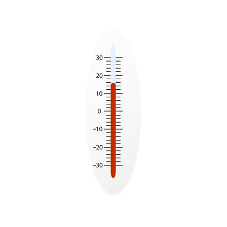 Thermometer for measuring air temperature. White background.