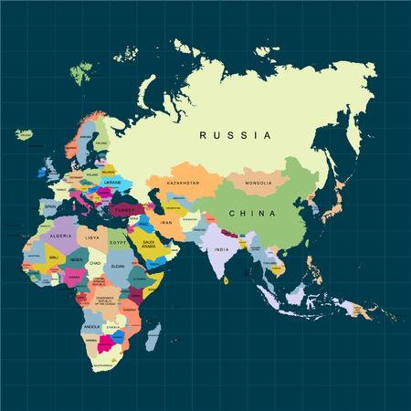 Territorio de continentes: África, Europa, Asia, Eurasia. Fondo oscuro. Ilustración vectorial