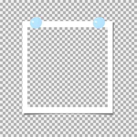 Photo frame with blue pin. Template. Vector illustration